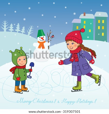 Happy girl teenager and a  little boy skating on ice is a snowman in the background house and trees, evening, snow falls, cartoon vector card with a wish - Merry Christmas - stock vector