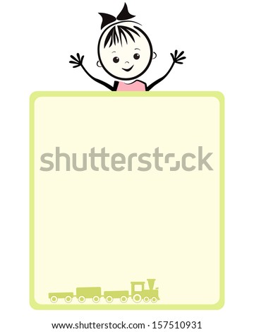 Happy girl. Vector illustration with place for your text. - stock vector