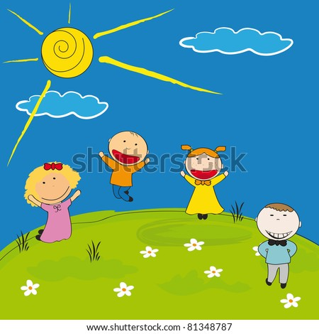 Happy girls and boys on meadow - stock vector