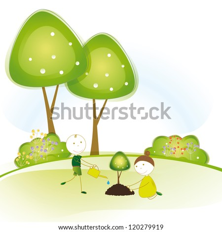 Happy girls and boys plant green trees - stock vector