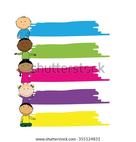 Happy girls and boys with banner - stock vector