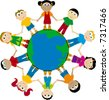 happy globes kids; african, asian, european... - stock photo