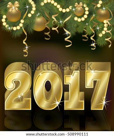 Happy golden new 2017 year greeting background, vector illustration