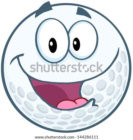 Happy Golf Ball Cartoon Mascot Character. Vector Illustration - stock vector