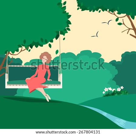 Happy graceful woman sitting in a summer garden relaxing on a swing under a leafy green tree enjoying the sunshine, vector illustration