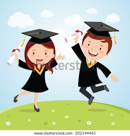 Happy graduated students. Cheerful young graduated students jumping for joy. - stock vector