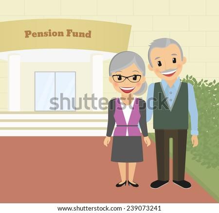 Happy grandparents standing near pension fund. Vector illustration - stock vector