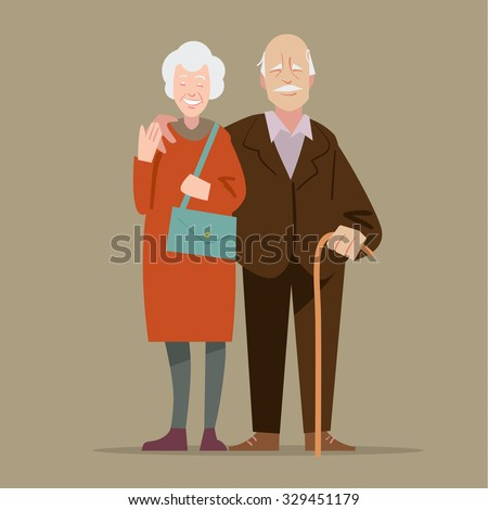 Happy grandparents. Vector illustration in cartoon style - stock vector