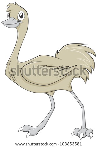 Happy Greater Rhea Cartoon - stock vector