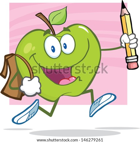 Happy Green Apple With School Bag And Pencil Goes To School. Vector Illustration - stock vector