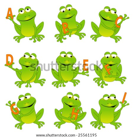 Happy green frogs holding letters, whole alphabet in my portfolio.