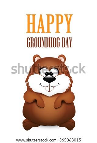 Happy Groundhog Day design.   - stock vector