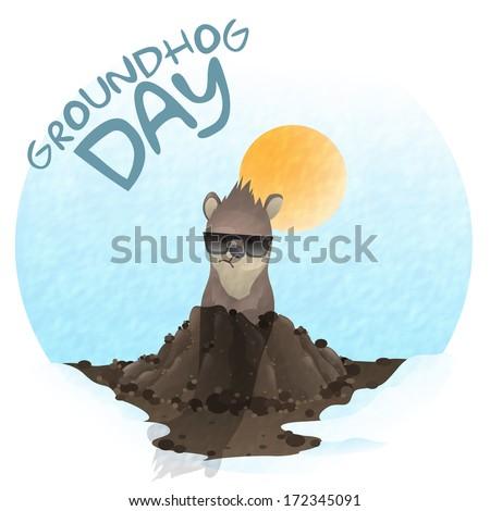 Happy Groundhog Day.  Vector Illustration. Eps 10. - stock vector