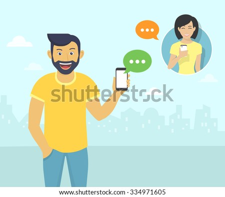 Happy guy wearing beard is sending messages via messenger app to young girl. Flat illustration of people communication with sms bubbles - stock vector