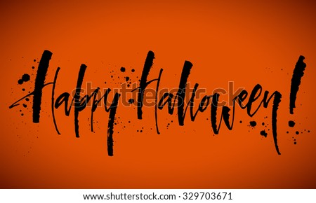 happy halloween background hand written calligraphy vector illustration - Halloween Writing Font