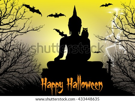 Happy Halloween background with  big buddha statue,owl,dead tree,bats and thunderbolt - stock vector