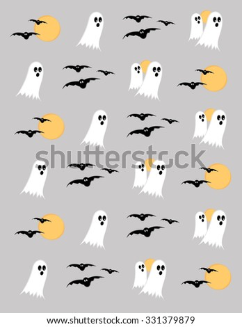 Happy halloween background with ghosts, and bats - stock vector
