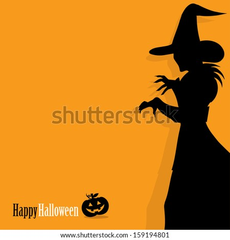 Happy Halloween background with witch  - stock vector