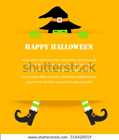Happy Halloween background with witch hat and feet, vector illustration - stock vector