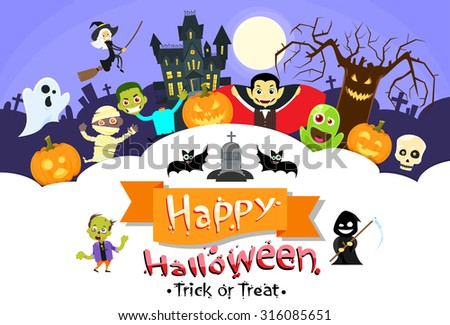 Happy Halloween Banner Monsters Flyer Collection Copy Space Poster Flat Vector Illustration - stock vector