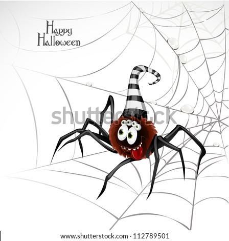 Happy Halloween banner with cute spider on the web - stock vector