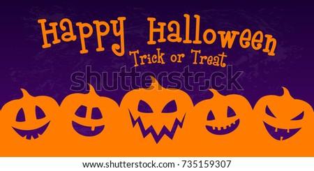 Happy Halloween Banner Silhouette Pumpkins Vector Stock Vector ...