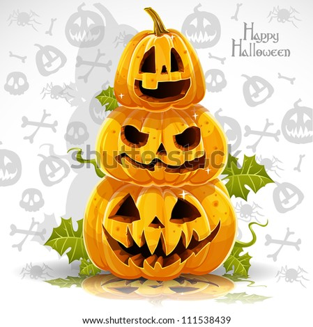 Happy Halloween banner with terrible pumpkins - stock vector