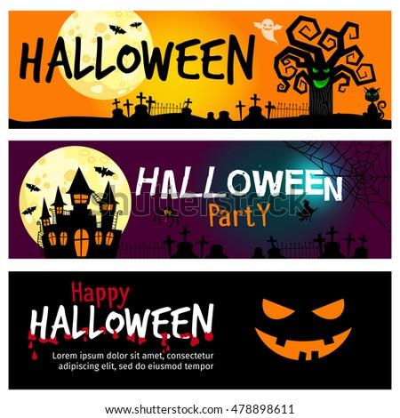 Happy Halloween Banners Halloween Invitations Dramatic Stock ...