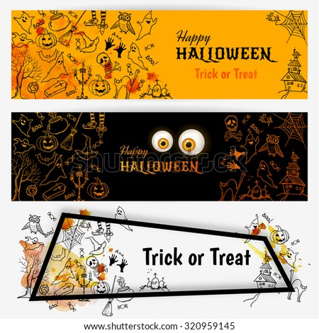 Happy Halloween banners set with hand drawn doodle Halloween symbols and elements. Vector illustration - stock vector