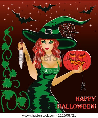 Happy Halloween Card. Redhead Witch With A Knife And A Pumpkin. Vector  Illustration