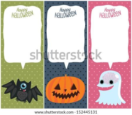 Happy Halloween card set with pumpkin, bat, ghost. Halloween background. - stock vector