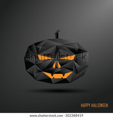 Happy halloween card template. 3d Low polygonal design pumpkin. Dark horror style. Eps10 vector illustration. - stock vector
