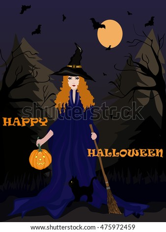 happy halloween card witch with pumpkin and black cat in the dark forest. vector illustration