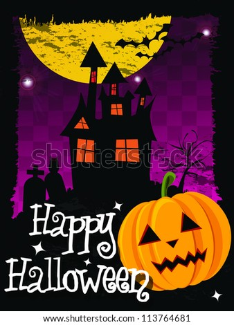 Happy Halloween card with haunted house, pumpkin, bats and cemetery, vector - stock vector
