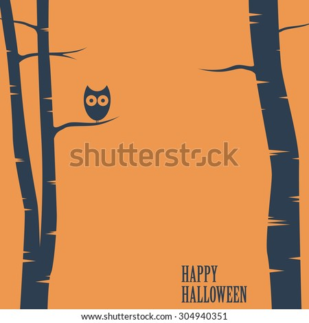 Happy halloween card with owl sitting on tree. Holiday postcard template. Space for text. Eps10 vector illustration - stock vector