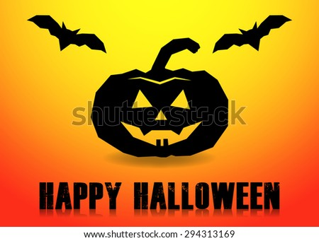 Happy halloween card with pumpkin and bats - stock vector