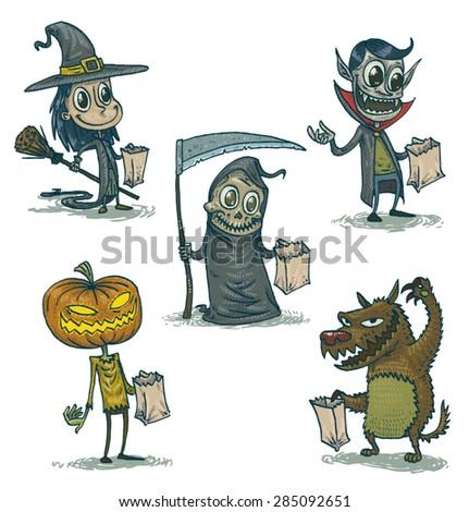Happy Halloween characters set, vector - stock vector