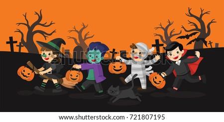 happy halloween children dressed in halloween fancy dress to go trick or treating