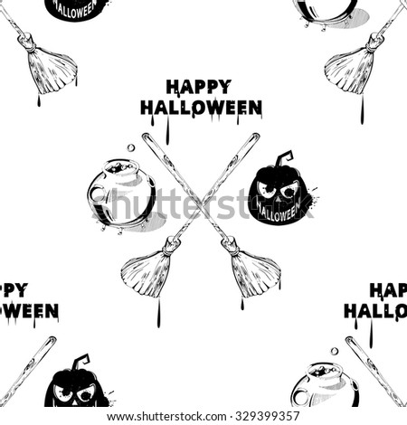 Happy Halloween Clipart Image. Vector Seamless Halloween Pattern. Seamless  Pattern With Pumpkins, Jack