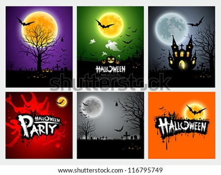 Happy Halloween collection design, vector illustration - stock vector