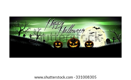 Happy Halloween colorful banner for web sites and networks on a green background. Vector illustration. EPS 10. - stock vector