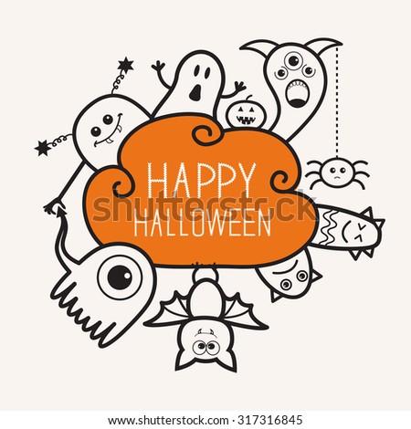 Happy Halloween contour outline doodle. Ghost, bat, pumpkin, spider, monster set. Orange cloud. White background Flat design Vector illustration - stock vector