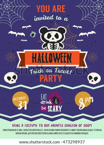 Happy Halloween Costume Party Invitation Template Stock Vector - Party invitation template: halloween costume party flyer