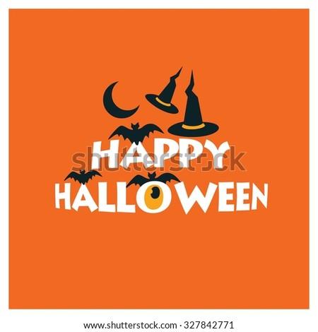 happy halloween creative typography on orange stock vector 327842771