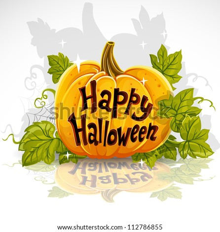 Happy Halloween cut out pumpkin banner - stock vector