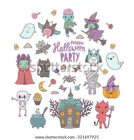 Happy Halloween cute characters - vampire, zombie, dracula, pumpkin, witch, ghost, bat, devil, mummy, skeleton, owl and black cat - stock vector