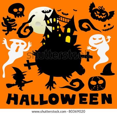 Happy Halloween   Cute vector illustration cartoon comic - stock vector