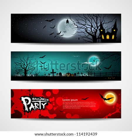 Happy Halloween day banner set design, vector illustration - stock vector