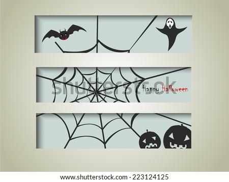 Happy Halloween day banner set design, vector illustration design background.... - stock vector