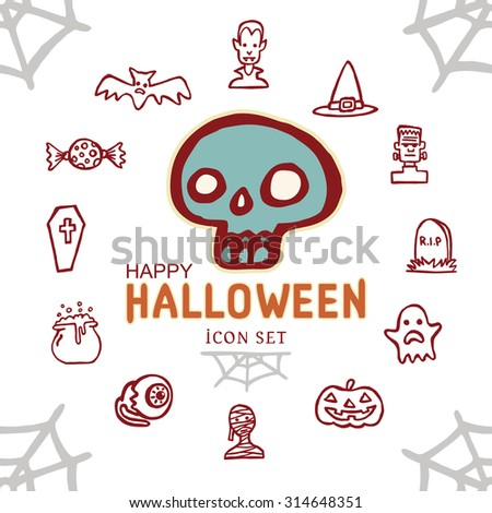 Happy Halloween day Icon Set skull on white